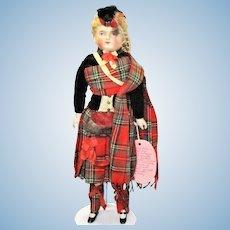 Fine 19th Century 18 Inch ABG Bisque Molded Hair SH Boy Original Scots Costume