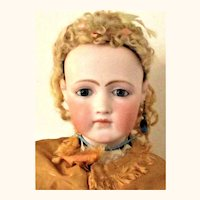 25 Inch French Fashion Portrait Face Swivel Neck Blue Paper Weight Eyes Kid Body Separate Fingers and Toes