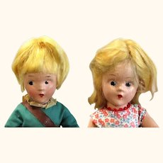 Two Blond 9 Inch 1930's Madame Alexander Wendy Ann Dolls Scotch Lass & School Girl