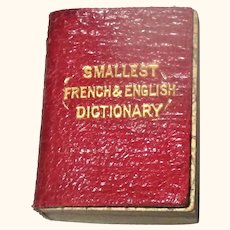 1890 Smallest French & English Dictionary Published by John Bryce and Son, Glasgow