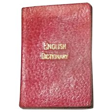 1890 Miniature English Dictionary Red Leather Gilt Letters Bryce & Son Glasgow