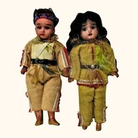 """Pair 7"""" Fired Bisque Scowling Indian Brave Dolls"""