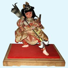 9 Inch Japanese Samurai Swivel Head Glass Eyes Sabre & Pole Weapon