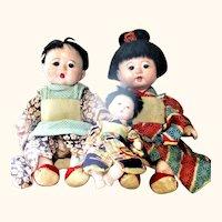 "Two 14""Japanese  Gofun Wigged Baby Dolls Glass Eyes Original Robes + 7"" Baby"