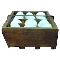 1903 Patent Dove Tailed  Wood Star One Dozen Egg Tray Carrier with Blown Milk Glass Eggs