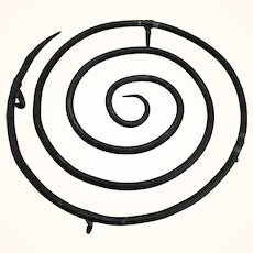 Old Wrought Iron Footed Pot Trivet with Concentric Circle Top
