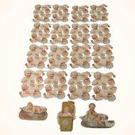 64 Victorian German Die Cut Scraps of Screaming & Smiling Babies  + 3 Baby Trade Cards