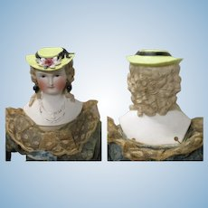 Scarce 1870 Parian Pierced Ears Elaborate Tan Cascading Curls Straw Boater Gilded Cross on Chain Hat Chip
