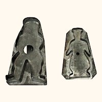 Two 19th Century Soldered Tin Pennsylvania Baker Man Cookie Cutters 5.75 and 4 & 3/8 Inch