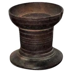 3 Inch Turned & Chip Carved Wood Pounce Sifter / Sander Original Oxidized Surface