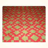 """19th Century NJ Hand Pieced 86"""" Long Quilt in Christmas Colors"""