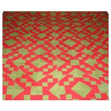 "19th Century NJ Hand Pieced 86"" Long Quilt in Christmas Colors"