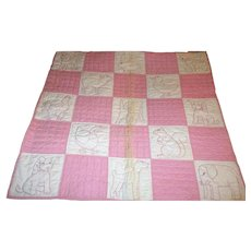 1920-30's Pieced and Embroidered Animal Squares Crib Quilt