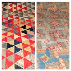 49 Inch x 72 Inch Hand Pieced Reversible Pin Wheel Juvenile Quilt