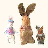 8 Inch Sitting Up Tan Velveteen German  Rabbit + 4 Inch Japan Bisque Rabbit & 6 Inch Artist Bisque Jointed Rabbit