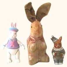 8 Inch Sitting Up Tan Velveteen German  Rabbit + 4 Inch Japan Bisque Rabbit & 6 Inch Artist Bisque Jointed Rabbit