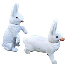 2 White Papier-Mache Glass Eye Rabbit with Carrot German Candy Containers