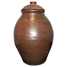19th Century NJ or PA  Ovoid Wheel Thrown Redware Spice Jar w Domed Lid