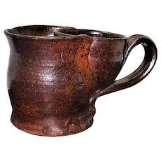 Hand Thrown 19th Century PA or NJ Brown Glazed Redware Shaving Mug