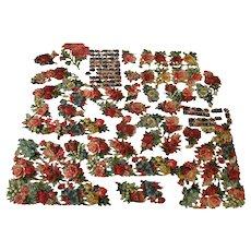 130 + Beautiful Old German Die Cut Flower Scraps Roses Pansies Forget Me Not
