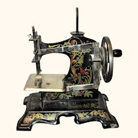 7 Inch 1900 Black Casige Toy Sewing Machine Art Nouveau Decoration