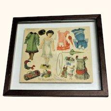 Framed 1885 Willimantic Thread Paper Doll Uncut Folder