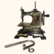 F W Muller Germany No 5 Child's Sewing Machine  Black w Art Nouveau Birds & Vines & Original Clamp