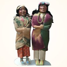 Mary McAboy 15 Inch Brave 14 Inch Squaw w Papoose Skookum Head Bands Braids Beads Blankets Wood Feet