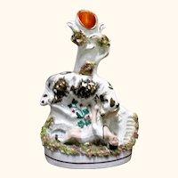 7.5 Inch 1850's Staffordshire Spill Vase Newfoundland Dog Saving Drowning Child