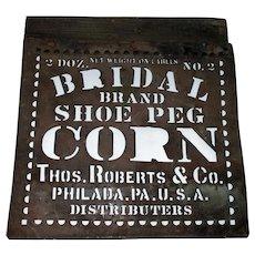 10.5 Inch Brass Stencil Bridal Brand Shoe Peg Corn Philadelphia PA