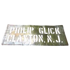 Old Clayton New Jersey 24 Inch x 9.25 Inch Brass Stencil Sign