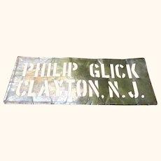 Old Clayton New Jersey 24 Inch x 9.25 Inch Brass Stencil Sign