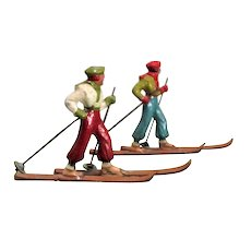 "2 Made in France Lead Skiers with Poles Bright Paint Surface 4.25"" Long"