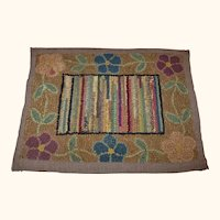 13 x 10 Inch Hooked Linen Table Mat Browns Blues Flowers Bars