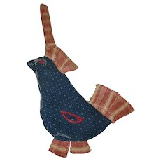 Old NJ Hand Stitched Indigo Linen Pot Holder / Pot Sitter Chicken