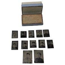 12 New Jersey Miniature Tin Types in 1893 Prescription Box