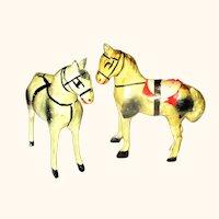 "2 German 3.75"" Stick Leg Cream Ponies"