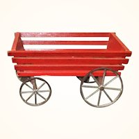 1908 Gibbs Red Slat Farm Wagon Toy
