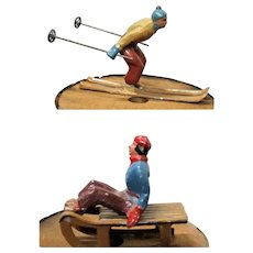 2 French Cast Metal Winter Sports Figures Down Hill Skier& Sledder