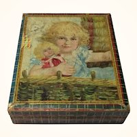Victorian Lithographed Paper Over Wood Picture Blocks Girls Cat Dog Doll