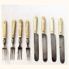 4 Pairs 19th Century Toy Bone Handle Knives & 3 Tine Forks