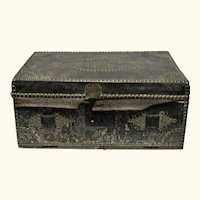 "19th Century 20"" Brass Studded Initials Dark Brown Leather Covered Travel Trunk James Kerr Philadelphia Label"