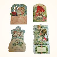 4 Edwardian German Die Cut Pop Up Valentines