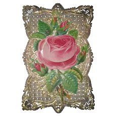 Victorian Rose Paper Lace Love Token Card with Inked Message Under Petal