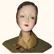 10.5 Inch 1930's Marcel Hair  Composition Doll Face Hat Stand