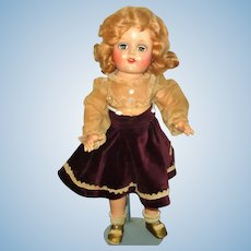1940's 16 Inch Composition OM Vogue Young Girl Doll Blue Sleep Eyes Blond Wig Ink Blot Label Dress