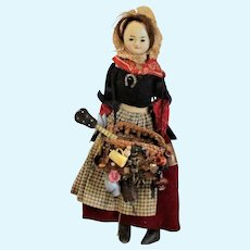13 Inch 1830-40's English Wax Slit Head Red Leather Arms Early Welsh Costume & Peddler Wares