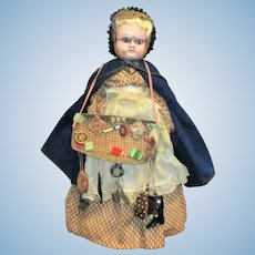 21 Inch 1870 German Wax Over Composition Peddler Doll Great Costume Straw