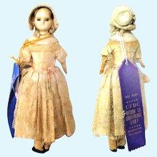 "13""  1820's English Slit Head Wax Original Layered Costume 2UFDC Blue Ribbons"