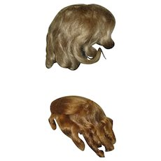 2  Blond Wigs 1 Antique 11 Inch Mohair 12 Inch Saran